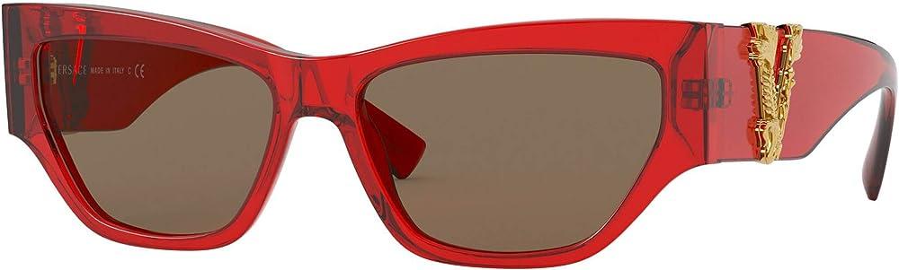 Versace, occhiali per donna, montatura in acetato color rosso trasparente, lenti marrone scuro VIRTUS VE 4383A