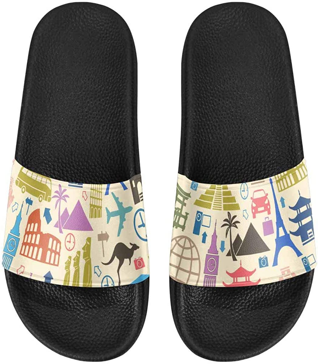InterestPrint Slipper Sandals for Women with Soft Material Cranes Background