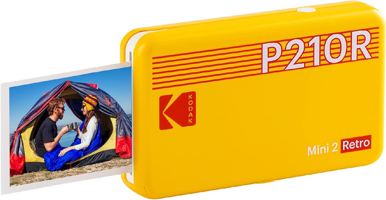 Kodak Mini 2 Impresora de Fotos para Smartphone, Formato instantáneo, 54 x 86 mm, inalámbrica, portátil y Compatible con iOS y Android – Amarillo