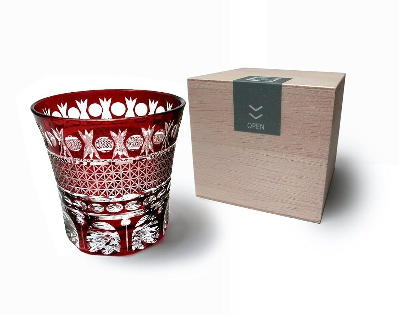 ガチョウ商人確率GREEM MARKET(グリームマーケット) 木箱付 工芸品 ガラス細工 切子 グラス コップ 焼酎グラス 切子グラス 品番:GMS00726(レッド)