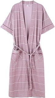 AXIANQI 夏の薄い半袖バスローブパジャマ綿100%メンズパジャマホームウェア A (色 : Pink, サイズ さいず : L l)