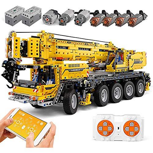 WANCHENG Technik Riesenkran Doppelte Fernbedienung mit 8 Motoren, 2590 Teile Montierendes Mechanisches Kranmodell, Mould King 13107, Kompatibel mit Lego Technik