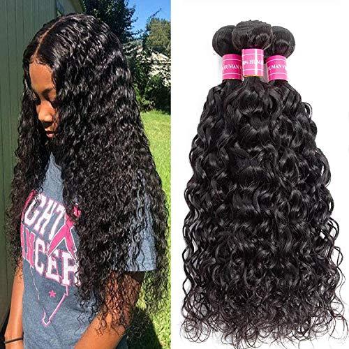 Water Wave Human Hair 3 Bundles Wet and Wavy Human Hair Brazilian 100% Unprocessed Virgin Human Hair Weave Bundles Natural color. (24 26 28, Water Bundles)