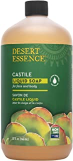 Desert Essence Castile Liquid Soap With Eco-Harvest Tea Tree Oil - 32 Fl Oz - Face & Body Cleansing - Coconut & Olive Oil...