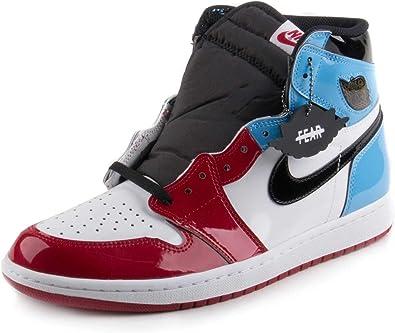 Nike Mens AJ1 Retro High OG Fearless White/Black-Blue Leather Size 8.5
