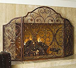 """powerful Ebros Gift Large 53 """"Wide Cast Iron Metal Rustic Victorian Flower Grape Top 3 Panel Fireplace …"""