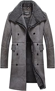 Men's Shearling Sheepskin Trench Coat Double Breasted CW807668