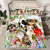 jejeloiu 2 Piece Botanical Bed Sheet Set Twin Size Dog and Cat Bedding Set Floral Print Pattern Sheets Colorful Flowers Farmhouse Fitted Sheet 1 Pillowcase