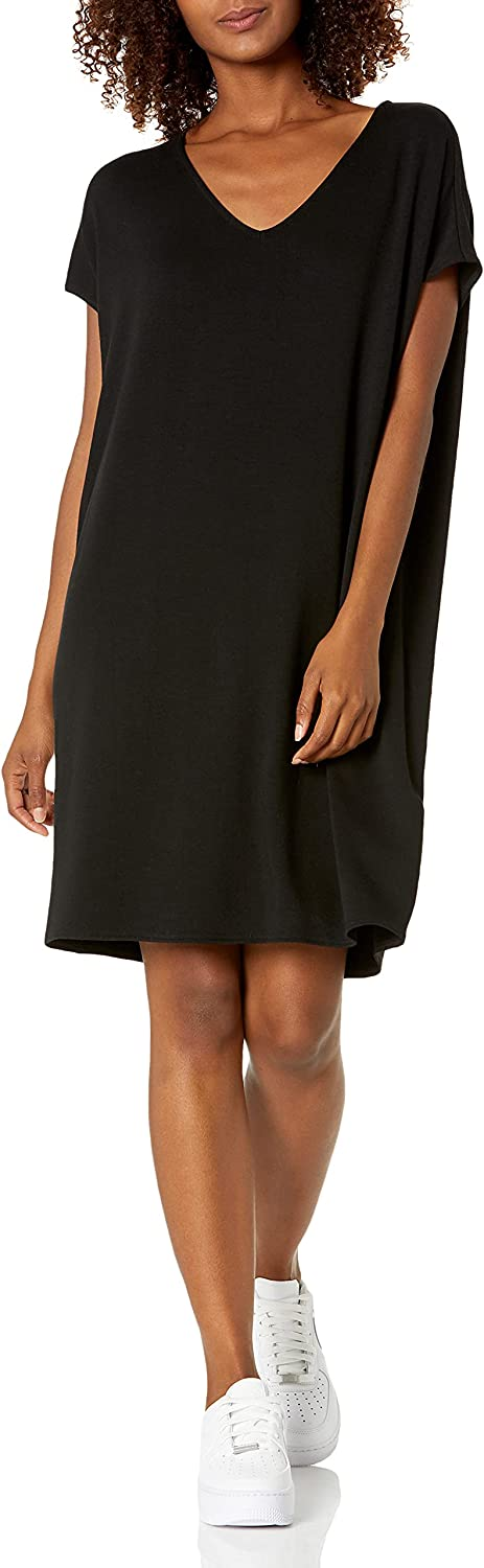 Amazon Brand - Daily Ritual Women's Supersoft Terry Dolman-Sleeve V-Neck Dress