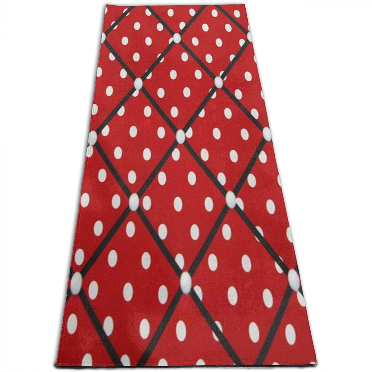 EJudge Yoga Mat Red White Polka Dot Unique 1/4-Inch Thick Exercise Mats for Pilates, Fitness & Workout