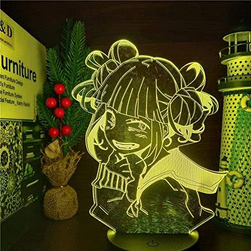 GEZHF My Hero Academia Lámpara de noche para niños Diseño de anime 3D Himiko Toga Boku no Hero Academia Cross My Body para dormitorio 7 colores Touch Illusion l hogar