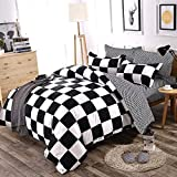 Fan Duvet Cover Set Queen Size Black and White Grid Checkered Plaid Pattern Boys Bedding Sets Reversible Modern Microfiber Comforter Cover and 2 Pillow Shams