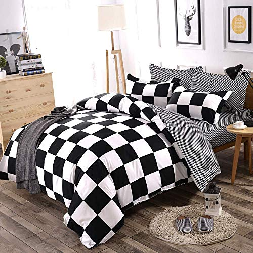 Lanqinglv Double Duvet Cover Set Black and White Checkered Plaid Patterned Bedding set Double Bed Soft Quilt Cover 200x200cm with Zipper and 2 Pillowcases 50x75cm