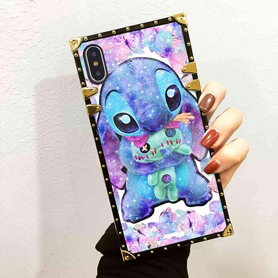 DISNEY COLLECTION Lilo Stitch 1 Square Cell Phone Case Compatible iPhone Xs | 10 | X (5.8in)