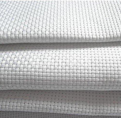 Tela Aida 14blanca–100% algodón tejido de punto de cruz–8tamaños para elegir, Blanco, 150X110cm