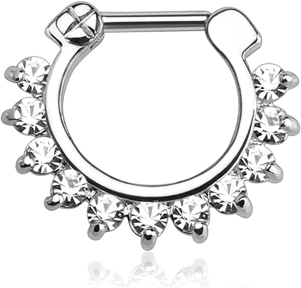 Forbidden Body Jewelry 16g 8mm Surgical Steel Septum and Cartilage/Daith CZ Lined Hoop Clicker Ring