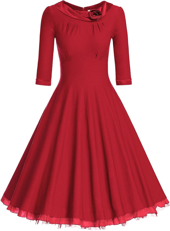 MUXXN Women's 1950s Vintage 3/4 Sleeve Rockabilly Swing Dress