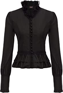 Women Gothic Victorian Shirt Tops Long Sleeve Corset Blouse