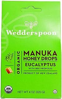 Wedderspoon Organic Manuka Honey Drops, Eucalyptus + Bee Propolis, Unpasteurized, Genuine New Zealand Honey, Perfect Remed...