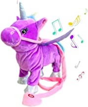 TACY Singing and Walking Electronic Pet Unicorn Plush Toys Pegasus Pink Robot Horses Musical Puppy Pet Soft Toys Gift Toy for Baby Toddlers Kids Pets (Purple)