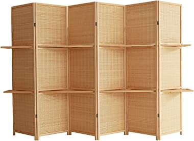 XXJF Room Divider Screen, Hand Made Solid Room Divider Privacy Screen Bamboo Partition Wall Double-Sided Folding Screen 6 Panels
