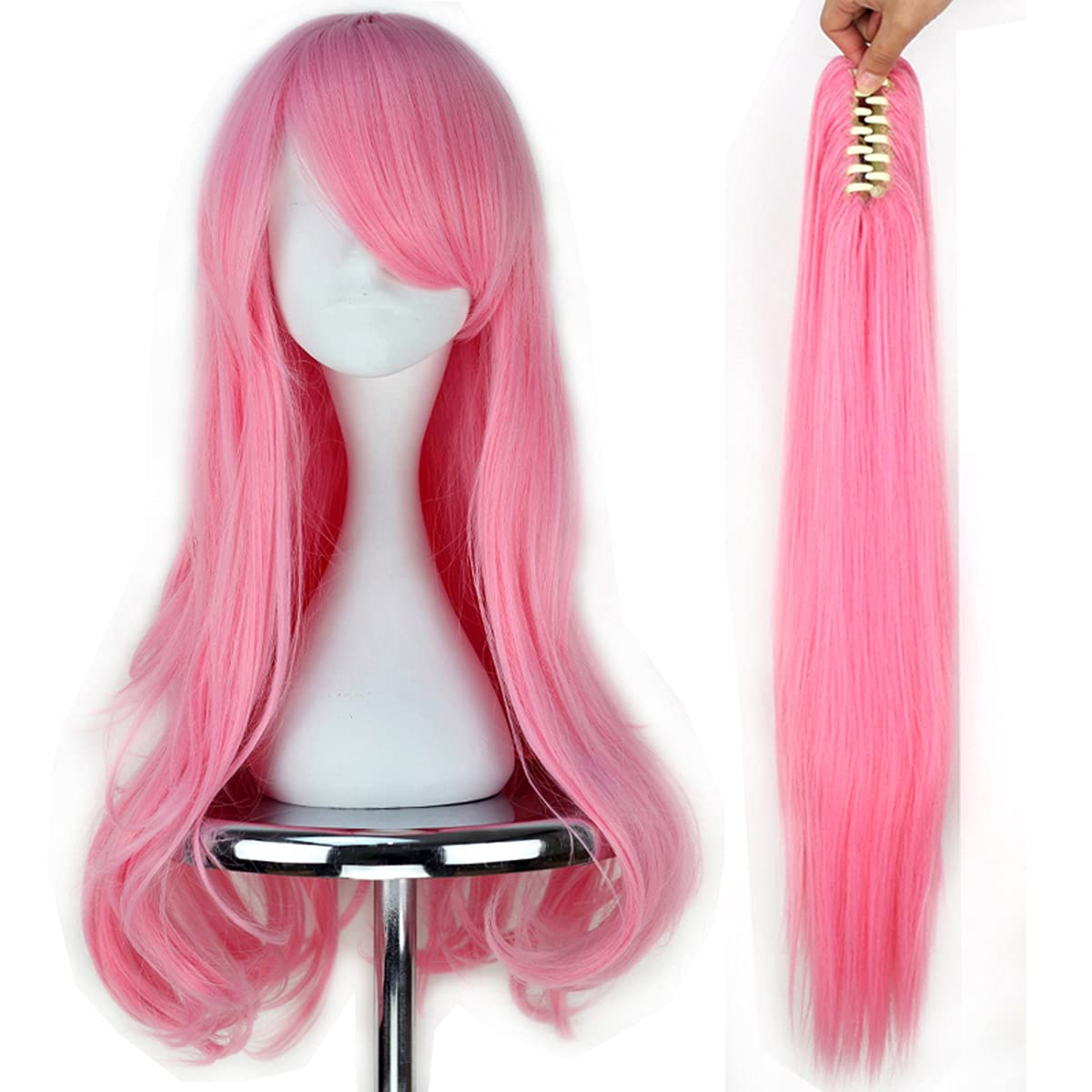 Miss U Topics on TV Hair Girl Long Wavy Pink Cosplay outlet Claw Po Full Costume Wig
