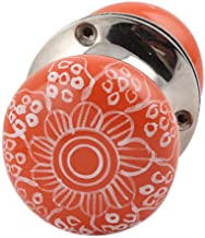 Indian-Shelf Handmade 2.25 Inch Ceramic Gerbera Flower Door Handles Dresser Pulls (Orange, 1-Piece)