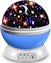 AOCHEN Star Night Light Kids, Baby Night Light Projector Rotation LED Night Light Lamp with 8 Colorfull Lights for Baby Nursery Bedroom Decotate - Blue