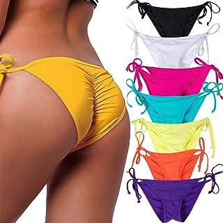 STARBILD Women's Sexy Brazilian Bikini Bottom with Tie-Side Cheeky V Cut Thong Swimsuit