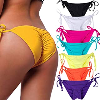 Women's Sexy Brazilian Bikini Bottom with Tie-Side Cheeky V Cut Thong Swimsuit