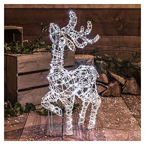 Noma Standing Reindeer Stag : White Wicker Christmas Decoration : Timer : 80 White LEDs : 60cm Tall : 2518307