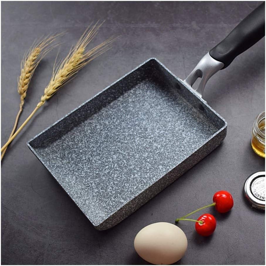 HEIFENGMUMA Crisp Accueil Petit déjeuner en Alliage d'aluminium Poêle Cuisine antiadhésif Maifanite Pierre Petit Outil de Cuisson Cuisinier (Color : Black) Black