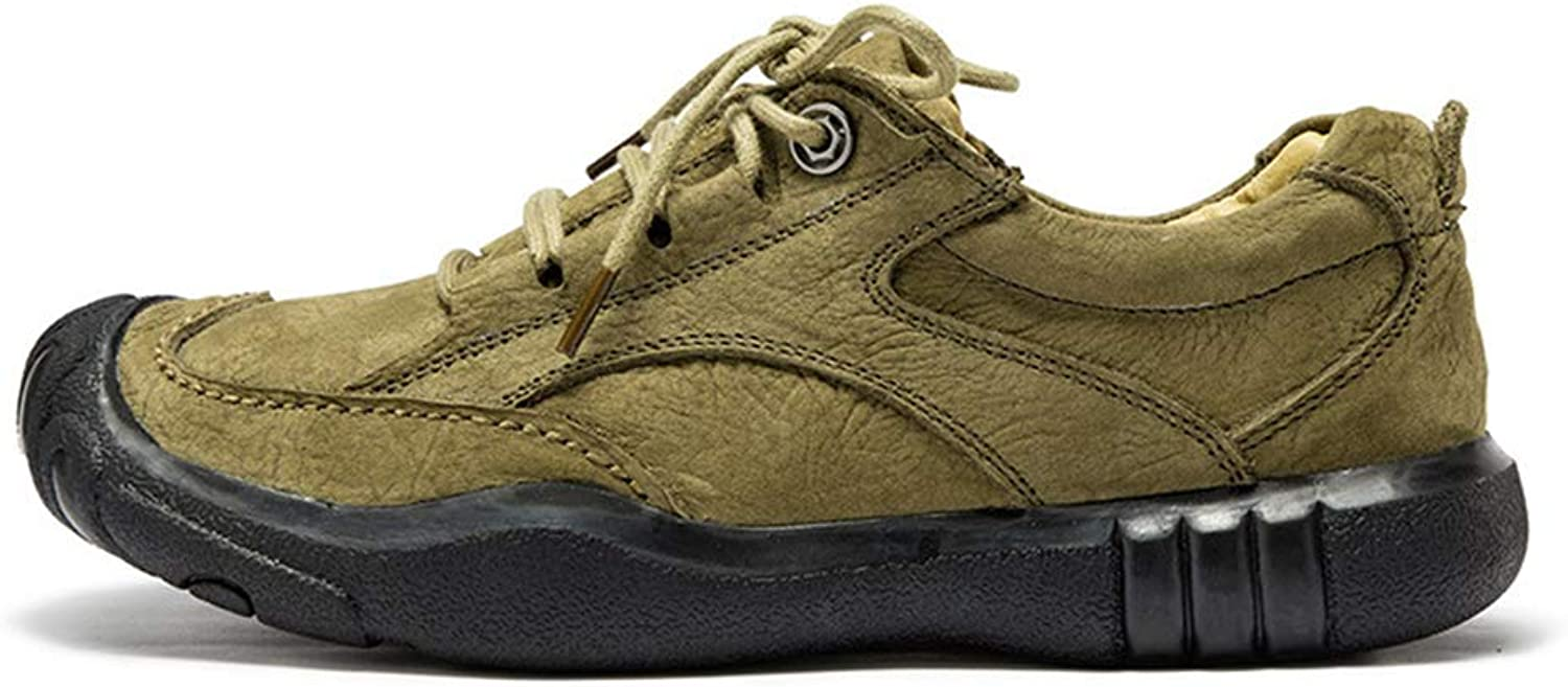 Men's shoes 2018 New Outdoor shoes Casual Sneakers Leather Non Slip Camping shoes Low-Top Lace-Up Hiking shoes,C,42