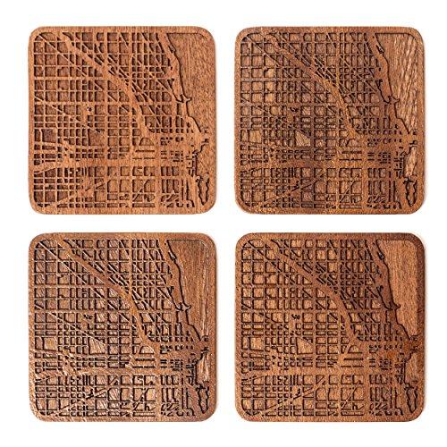 Chicago Posavasos Mapa, Conjunto de 4, montaña de madera Sapele con mapa...