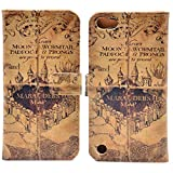 iPod Touch 7 Case, Marauder's Map Vintage Pattern Leather Wallet Credit Card Holder Pouch Flip Stand Case Cover for iPod Touch 5, Touch 6, Touch 7 7th