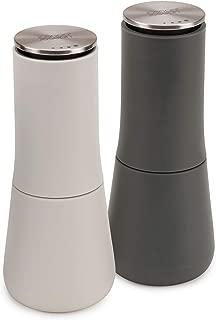Joseph Joseph 95036 Milltop Salt and Pepper Grinder Set with Adjustable Grind Size Coarseness, 2-piece, Dark Gray/White