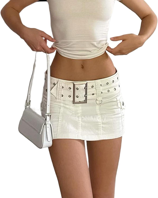 Y2K Aesthetics Low Waist Harajuku Wrap Mini Skirt Mall Goth E Girls Denim Short Skirts High Street Clubwear