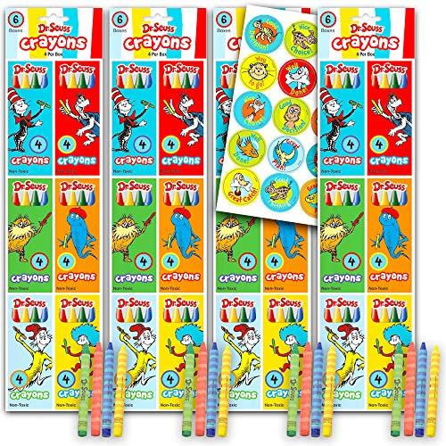 Dr. Seuss Party Favors Bundle - 24 Pack Dr. Seuss Crayons with Dr Seuss Stickers Dr. Seuss Party Supplies Seuss Classroom Rewards (Dr. Seuss Birthday Party)