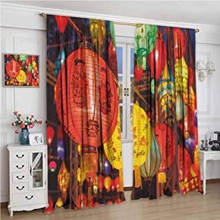GUUVOR Lantern All Season Insulation International Chinese New Year Celebration China Hong Kong Korea Indigenous Culture Noise Reduction Curtain Panel Living Room W96 x L72 Inch Multicolor