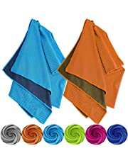 Tobfit Cooling Towel 2 Pack, Instant Cooling Relief Microfiber Ice Towels Stay Cool for Sports and Fitness (01 Blue & Orange, 40 inch x 12 inch)