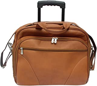 Piel Custom Personalized leather Rolling Laptop Briefcase, Office on Wheels Case in Saddle