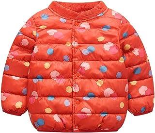 TRAYOSIN 子供服 ダウンジャケット 女の子 中綿入れ ダウンコート キッズ アウターウエア ショート丈 プリントドット 防寒 軽量 秋冬