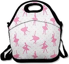 Women Lunch Bag for Men Girl Opera Ballet Pink Ballerinas Dance On Polka Dot Pattern Ballerina Delicate Dancer Tutu Graceful Dress Reusable Insulated Lunch Tote for Office Picnic and School