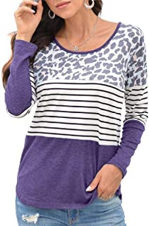 Miracle Womens Crew Neck Long Sleeve Stripe Print Color Block Casual Loose T-Shirt Tops T Shirt