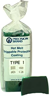 Precision Brand Type 2 Hot Melt Strippable Protective Coating, Transparent Green Color, 5 Pound Package