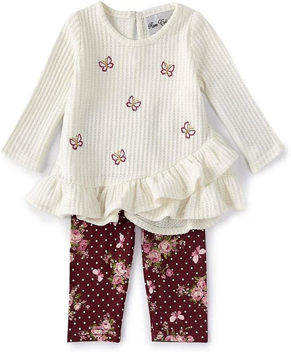 Rare Trust Columbus Mall Editions Girls Size 2T-6X Sweater Roses Pants Set Butterfly