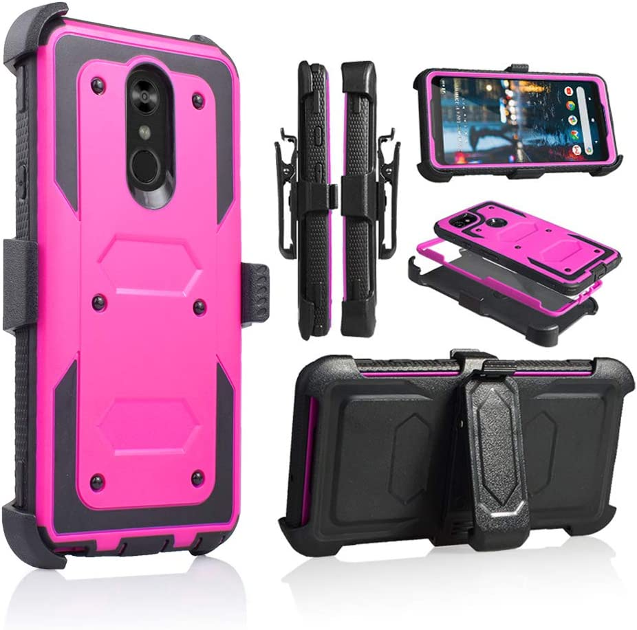 Compatible for LG Stylo 4 Phone Case, [Full Body Defender Protection] [Kick-Stand] Full-Body Heavy Duty Case with [Built-in-Screen Protector] [Belt Clip Holster] (Purple)