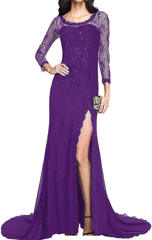 BridalAffair Three Quarters Sleeve Side Split Mermaid Prom Dress Long Lace Party Evening Dress