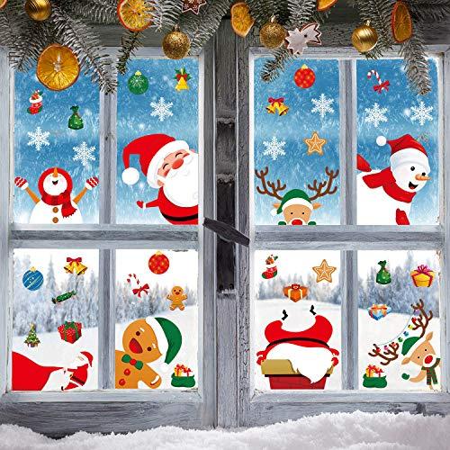 54 Stück Weihnachten Fenster Haftet Schneeflocken Dekoration, Wunderland Weihnachten Party Lieferung Fenster Aufkleber Weihnachten Abziehbilder Weihnachtsmann Schneemann Rentier Spähen Abziehbilder