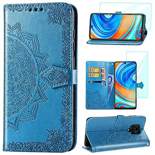 Yohii hülle für Xiaomi Redmi Note 9S/Note 9 Pro + Panzerglas, Premium Leder Flip Schutzhülle Kartensteckplatz Standfunktion Magnetverschluss Brieftasche Handyhülle, Hülle für Xiaomi Redmi Note 9S Blau